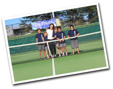 Brittany Teei and KidsCoin kids on tennis court